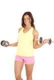 Woman with weights excited