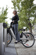 Woman on a Bixi public bicycle