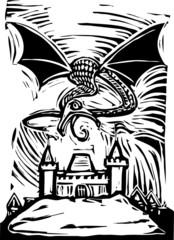 Dragon over Castle