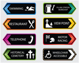colored tourist locations icon set poster