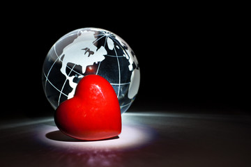 Globe and red heart