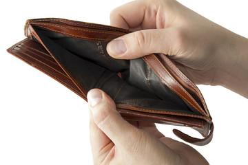 Empty brown wallet in his hand