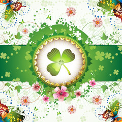 St. Patrick's Day card design with butterflies and clover