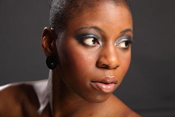 Landscape head shot of beautiful black woman