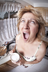 Woman waking up with a coffee (series)