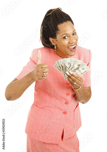 African-American Woman Holding Cash