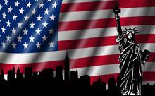 Usa amerykańską flagę z Statue of Liberty skyline sylwetka