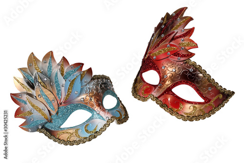 Carnival Venetian masks isolated on white background