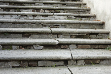 Cracked stone steps