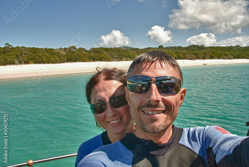 Young Couple having Fun in Whitehaven Beach