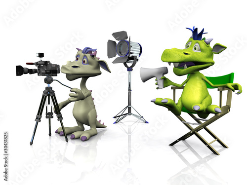 Cute cartoon monsters filming.