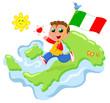 Viva l'Italia! Bimbo felice con bandiera e cartina italiana
