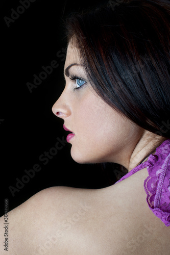 Profile of beautiful young woman