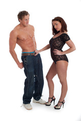Sexy couple isolated against white