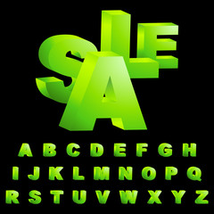 SALE. Vector 3d alphabet for design.