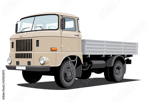 Vector isolated cargo truck, without gradients