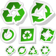Recycle sticker set. Vector illustration.