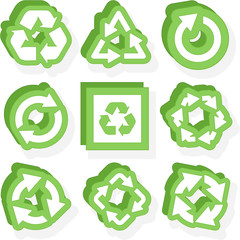 Recycle symbol set.