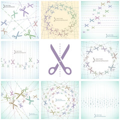 Abstract background with scissors