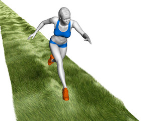 woman fitness run to grass in motion speed