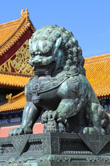 Detail in Forbidden City (Palace Museum) in China: bronze lion,