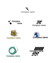 set of 7 company logotypes
