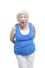 Shocked senior woman portrait