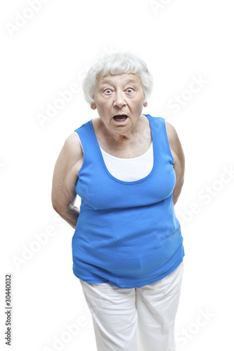 Shocked senior woman portrait