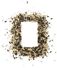 Frame. shells of sunflower seeds