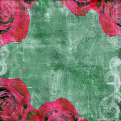 Retro design background whith roses on aged paper