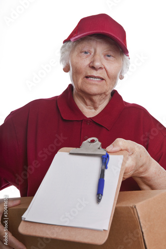 Working senior woman delivering parcel