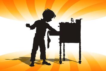 Niño, registrando un cajon de escritorio