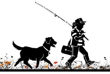 ilustracion de una niña con su perro, viniendo de pesca