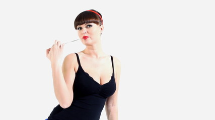 Woman in lingerie eat chewing gum
