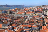 Bird way of central Lisbon with red roofs and river embankment poster