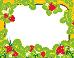 frame summer with strawberry and foliage