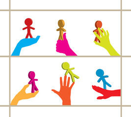 Colorful set of hands holding 3D business persons / figures
