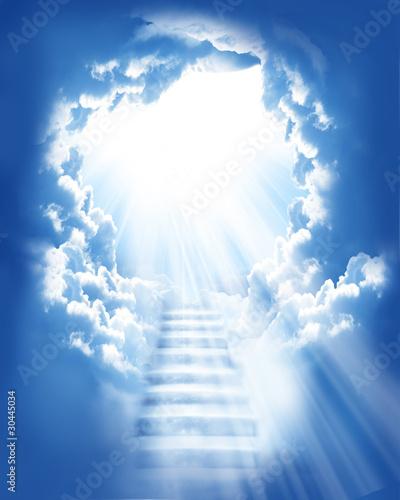Leinwanddruck Bild stairs in sky