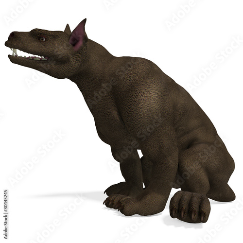hellhound - a fantasy creature. 3D rendering with clipping path