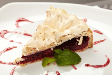 cherry strudel with mint