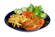 Salmon medallion with fries, isolated on white