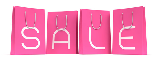 Sale Season Is Open! Four shopping bags with the letters SALE