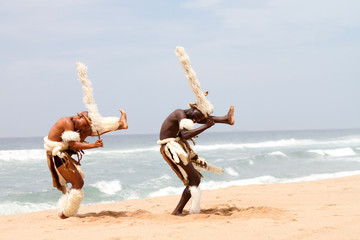 zulu dancers on beach