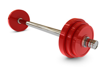 Red barbell weight