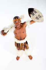 overhead of traditional zulu warrior