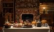 Leinwandbild Motiv Thanksgving Cabin Dinner