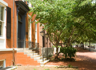 Brick Colonial Row Homes Street Sidewalk DC USA