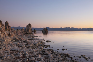 Lake shallow, in it set of picturesque reeves of the Tufa