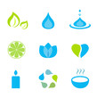 Water, nature and wellness icons - green and blue. Vector