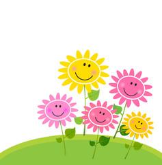 Happy Spring Flower Garden. Vector Illustration.